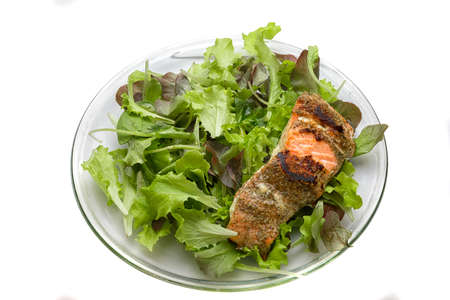 Grilled salmon on salad
