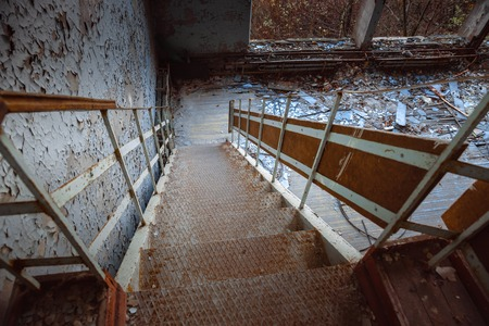 Old Abandoned staircase angle shot