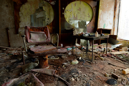 Abandoned Barber saloon in Pripyat, Chernobyl Exclusion Zone 2019 closeup