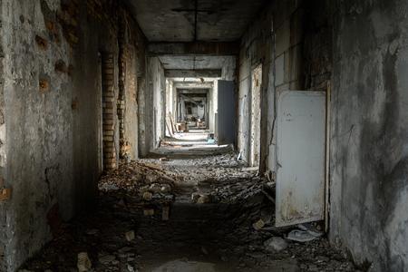 Abandoned hallway of Pripyat Hospital, Chernobyl Excusion zone 2019 angle shot Stok Fotoğraf