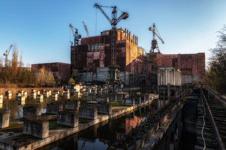 Chernobyl Nuclear power plant 2019 under blue sky