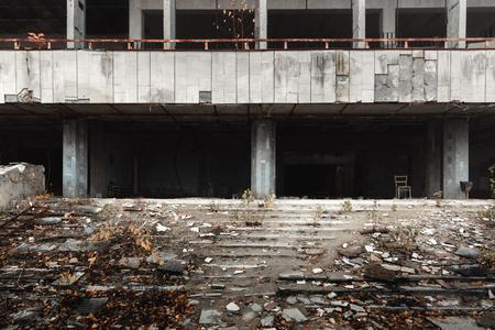Extérieur du bâtiment abandonné dans la ville de Pripyat 2019 Banque d'images