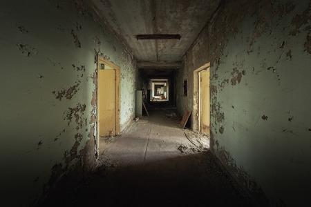 Abandoned corridor in Pripyat Hospital, Chernobyl Exclusion Zone 2019