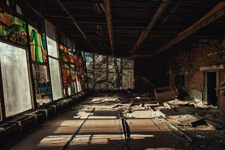 Large windows in Pripyat City, Chernobyl Exclusion Zone 2019 Stock Photo