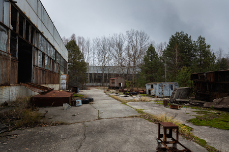 Abandoned factory exterior at Chernobyl