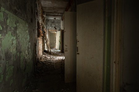 Abandoned corridor in Pripyat Hospital, Chernobyl Exclusion Zone