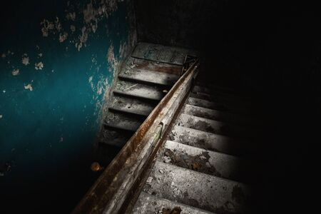 Abandoned staircase angle shot
