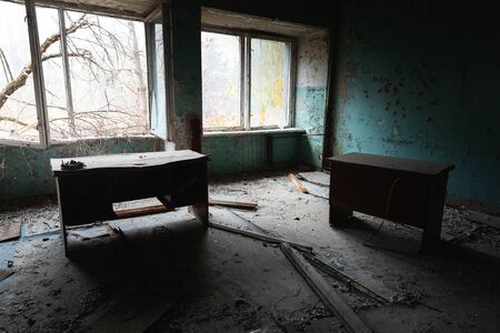 Abandoned and messy room in Pripyat post office