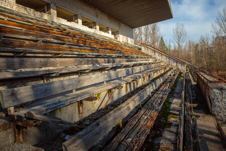Part of the Abandoned stadium in Pripyat, Chernobyl Exclusion Zone