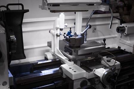 Automated robotic cnc working in industrial factory