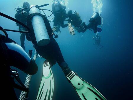 Scuba divers ascending to the surface underwater photo Reklamní fotografie