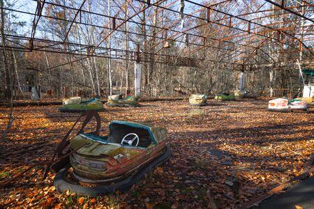 Old cart in Pripyat at Chernobyl Exclusion zone closeup