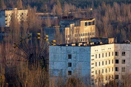 PRIPYAT,CHERNOBYL  UKRAINE - Abandoned cityscape in Pripyat, Chernobyl Exclusion Zone closeup