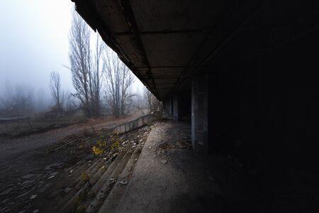 Corridor at an abandoned city angle shot Reklamní fotografie