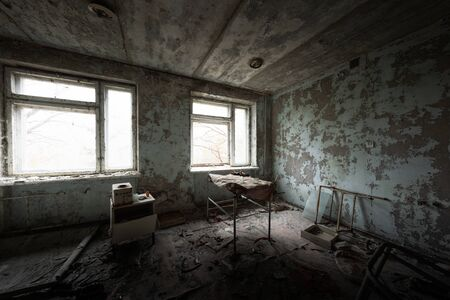 Abandoned room at the hospital of Pripyat in Chernobyl Exclusion ZOne