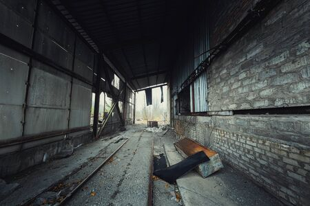 Abandoned room in Pripyat cement factory, Chernobyl Exclusion Zone angle shot