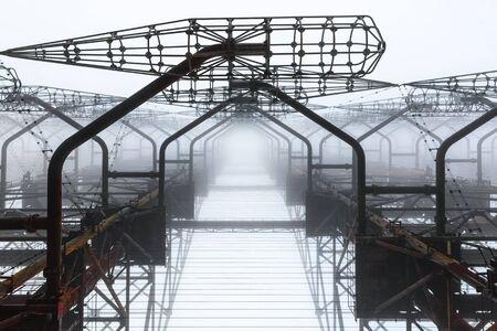 Complejo de antenas en primer plano de la zona de exclusión de Chernobyl Foto de archivo