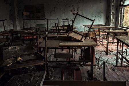 Abandoned Classroom in School number 5 of Pripyat, Chernobyl Exclusion Zone photo