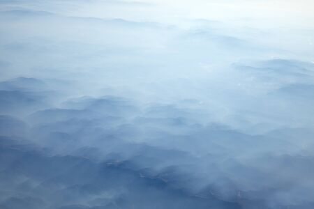 Carpathian Mountains from above at winter aerial shot