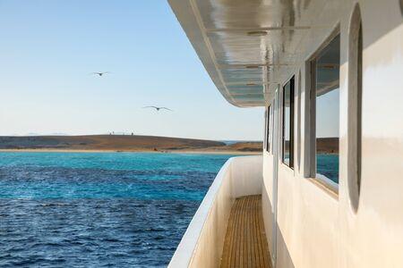 Corridor of luxury yacht with ocean and horizon Reklamní fotografie