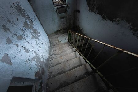 Abandoned old staircase angle shot
