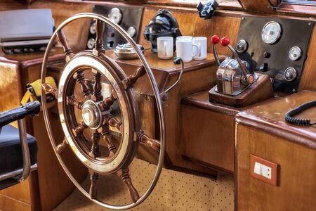 Cockpit of boat in sunlight