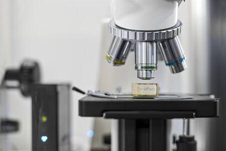 White microscope close-up photo inside laboratory 版權商用圖片