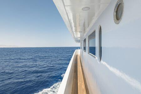 Corridor of luxury yacht angle shot Stok Fotoğraf - 130061429