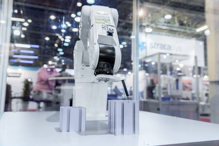 Automatic robot arm working in industrial environment Stockfoto
