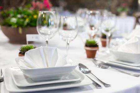 Closeup of a table at the dining hall Stock Photo