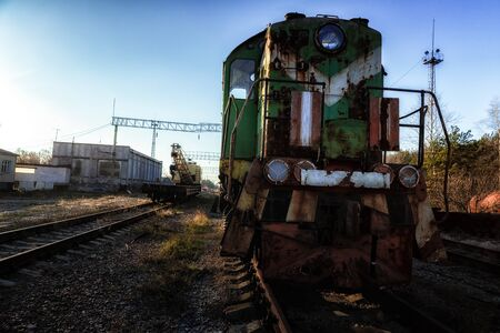 Abandoned train left outside at train station 写真素材