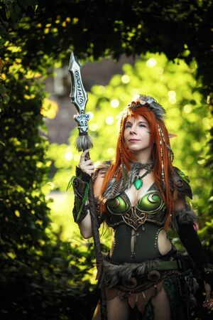 Elven warrior woman in the deep forest