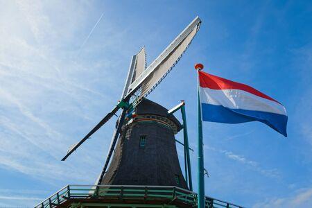 Dutch windmills in Netherlands close up footage