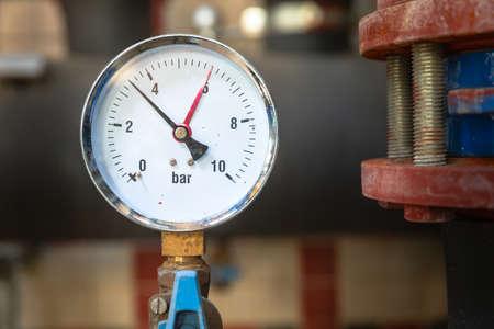 Closeup of clean pressure gauge background.