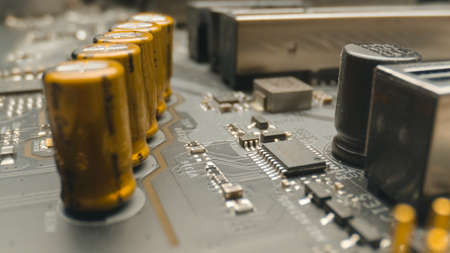 Motherboard close up photo with transistors