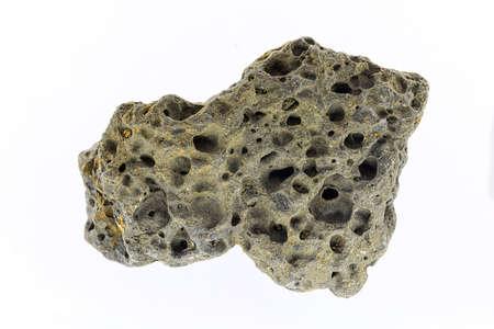 Smoke whirling around small meteorite stone