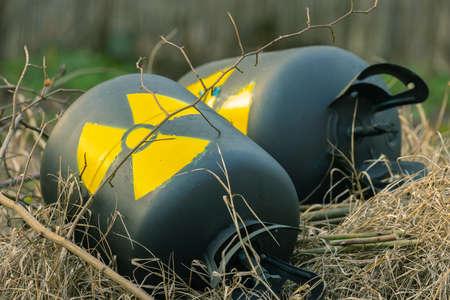 Radioactive waste thrown out as garbage closeup