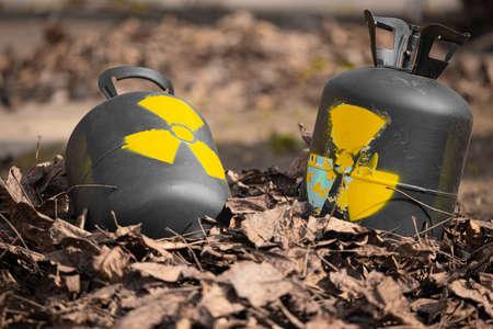 Radioactive waste thrown out as garbage 版權商用圖片