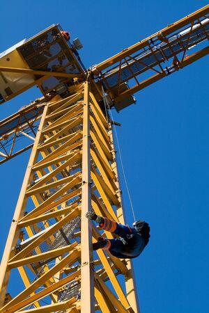 evacuation: Evacuation from construct-crane Stock Photo