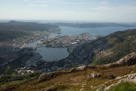 montane: View over Bergen city from Ulriken, one of the seven montane around Bergen