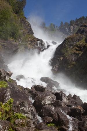 hardanger: L�tefossen waterfall is a famous waterfall in Hardanger, Norway  Stock Photo