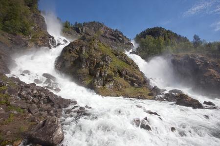 hardanger: Låtefossen waterfall is a famous waterfall in Hardanger, Norway