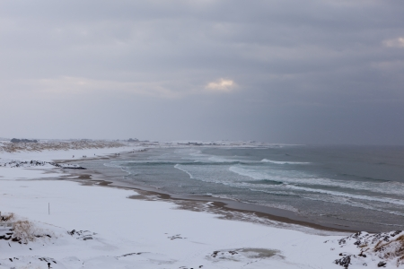Winter on the beach in Norway Stock Photo