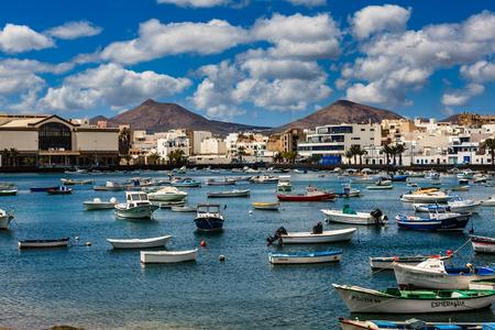 Small fishing boats in the lagoon in the capital Arrecife in Lanzarote.