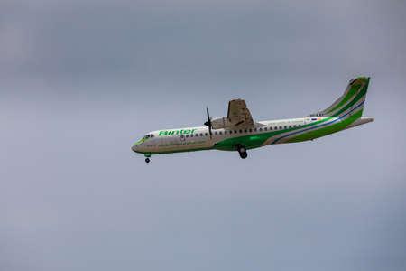 ARECIFE, SPAIN - APRIL, 16 2017: ATR 72 of Binter with the registration EC-KRY landing at Lanzarote Airport