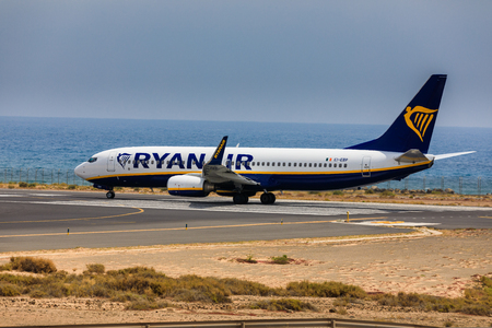 ARECIFE, SPAIN - APRIL, 16 2017: Boeing 737-800 of AYANAIR with the registration IE-EBP ready to take off at Lanzarote Airport Editorial