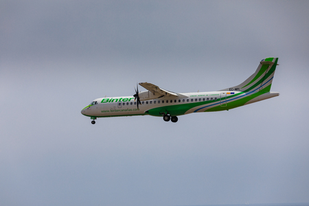 ARECIFE, SPAIN - APRIL, 16 2017: ATR 72 of Binter with the registration EC-MPI landing at Lanzarote Airport