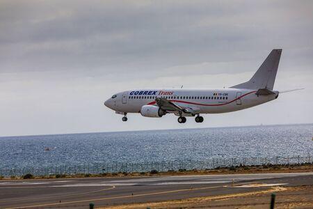 ARECIFE, SPAIN - APRIL, 15 2017: Boeing 737 - 300 of Cobrex Trans landing at Lanzarote Airport Editorial