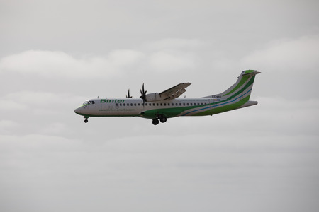 april 15: ARECIFE, SPAIN - APRIL, 15 2017: ATR 72 of Binter landing at Lanzarote Airport