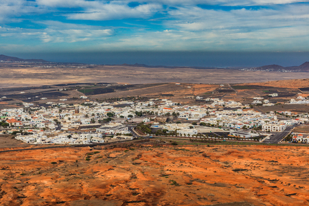 View of the countryside and the town Teguise on Lanzarote
